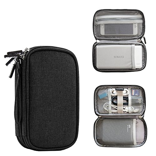 Honeystore Double Layer Travel Universal Cable Organizer Small Electronic Accessory Case Digital Accessory Organizer Bag for USB Cable, Earphone, Flash Drive, SD Card, Power Bank, Phone and More Black by Honeystore