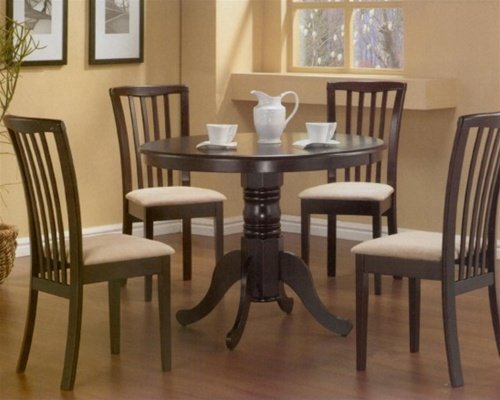 5pc Pedestal Dining Table & Chairs Set Cappuccino Finish