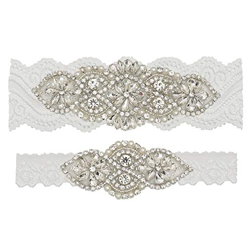 Yanstar Wedding Bridal Garter Belt Off White Stretch Lace Bridal Garter Sets With Silver Rhinestones For Wedding]()