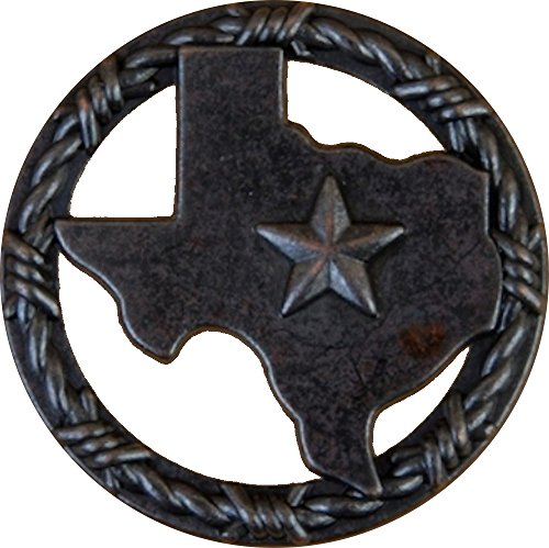 (Set of 6 Texas with Barbwire Ring Lone Star Drawer Cabinet Pull Southwest Rustic Texas (Oil Rubbed Brass))