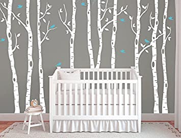Wonderful Large Birch Tree Decals For Walls, Wall Mural Decal, White Tree Wall Decal,