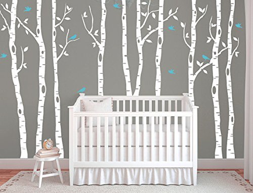 Large Birch Tree Decals for Walls, Wall Mural Decal, White Tree Wall Decal, Nursery Wall Decals, Vinyl Wall Decals, Wall Decal for Nursery Nursery Decal for Kids and Living Room Himanjia