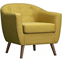 POLY & BARK Layna Mid-Century Accent Chair, Olive Green