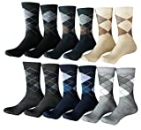 Zakka Republic 12 Pairs Men Dress Socks Multi Colored Argyle Pattern (SCK-01)