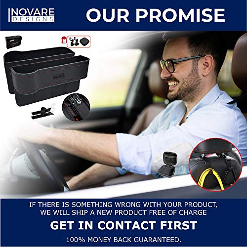 Inovare Designs - Organizador de asiento de coche con soporte para vasos, organizador de asiento de coche, organizador de espacio para asiento delantero, organizador de espacio entre asientos, 2 unidades