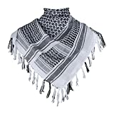 G.S YOZOH Premium Military Shemagh Tactical Desert Keffiyeh 100% Cotton Head Neck Scarf Wrap (White)