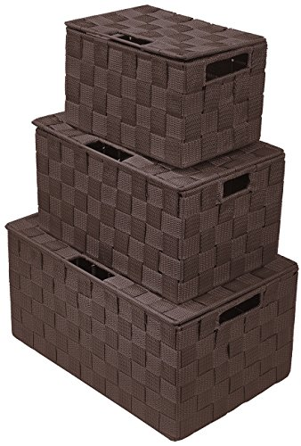 Sorbus Storage Box Woven Basket Bin Container Tote Cube Organizer Set Stackable Storage Basket Woven Strap Shelf Organizer Built-in Carry Handles (Chocolate) (Storage Lids Bins Wicker With)