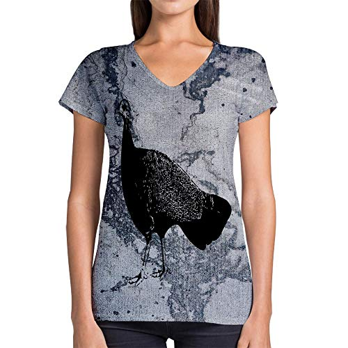 Idakoos Animal Great Argus Pheasant 3D - Women V-Neck T-Shirt Polyester Novelty