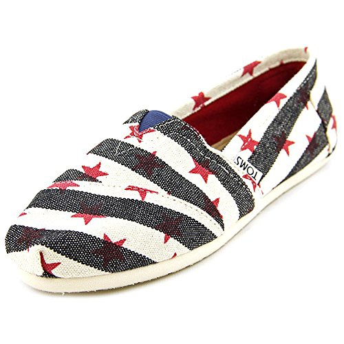 Blue Navy Flat Shoe Stripe (TOMS Women's Classic Star Navy/Natural Star Casual Shoe 7.5 Women US)
