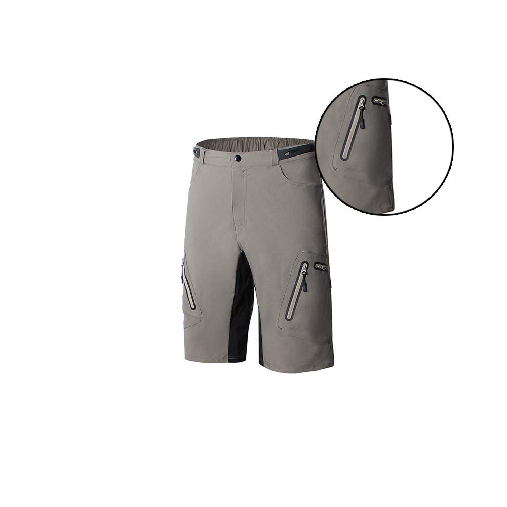 MTB Cycling Shorts Mountain Bike Shorts Water Resistant Breathable Bike Underwear Padded Design Bicycle Briefs in Summer Army Green M