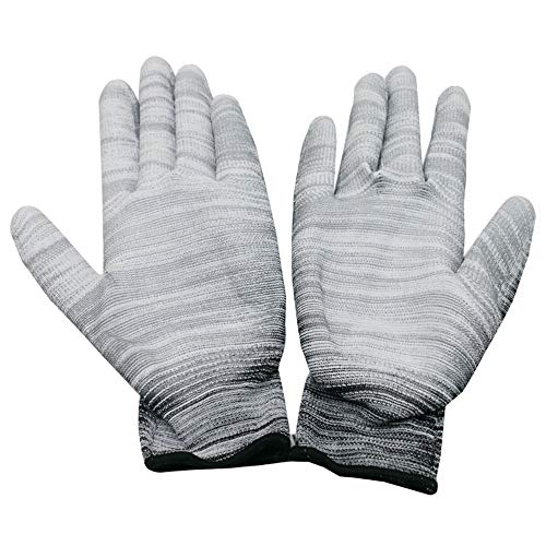 Striped Nylon Gloves (QETY Labor Insurance Cotton Gloves, Nylon PU Striped Color Coating Glue Coated Gloves Female dust-Free Anti-Static Work Gloves (12 Pairs of Packaging),15)