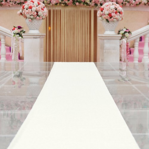 TRLYC Ivory Marriage Ceremony Runner Wedding Sequin Aisle Runner-24Inch by 15FT -