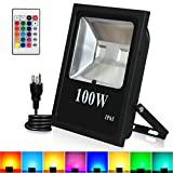 RGB LED Flood Lights, T-SUNRISE 100W Super Bright Outdoor Security Wall Light, Remote Control, RGB Color Changing IP65 Waterproof with US Plug for Garden, Yard, Warehouse Sidewalk