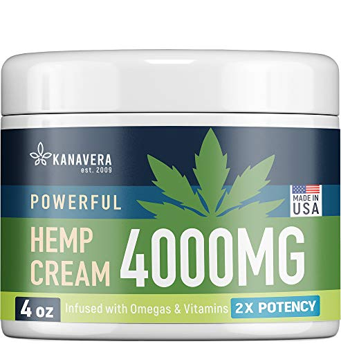 Hemp Cream for Pain Relief - 4000 MG American Hemp Extract - Natural Treatment with Emu Oil, Aloe Vera, MSM & Menthol for Muscle, Joint, Sciatica & Back Pain - Made in USA - Omega 3-6-9 Infused