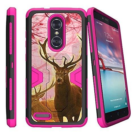 Zmax Pro Case  ZTE Zmax Pro Pink Case  ZTE Carry Case  Z981 Case [MAX DEFENSE]- Heavy Duty Pink and Black Hybrid Case with Slim Built in Kickstand Holster Clip by Miniturtle - Pink Deer (Zte Zmax Phone Case Pink Hybrid)
