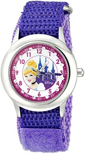 Disney Kids' W000389 Cinderella Glitz Stainless Steel Time Teacher Purple Velcro Strap Watch