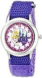 Disney Kids' W000389 Cinderella Glitz Stainless Steel Time Teacher Purple Velcro Strap Watch