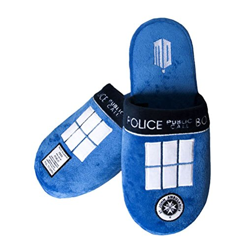 (Doctor Who Official Adult Tardis Mule Slip-On Slippers - One Size UK 8-10)