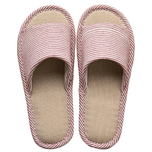 LYMMC House Slippers,Women's and Men's Cotton Causal Soft Slippers Anti-Slip for Indoor and Outdoor (Wine Red) by LYMMC