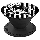 Ice Hockey Goalie Goaltender US Flag Birthday Christmas Gift - PopSockets Grip and Stand for Phones and Tablets