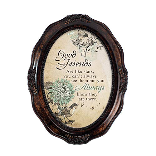 Cottage Garden Good Friends are Like Stars Amber Wavy 5 x 7 Oval Table Top and Wall Photo Frame