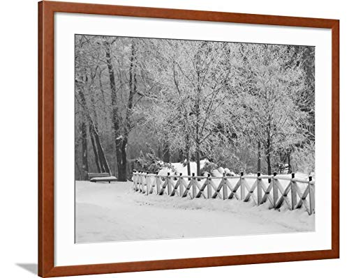 ArtEdge Winnipeg Manitoba, Canada Winter Scenes Keith Levit, Brown Framed Matted Wall Art Print, 24x32 in (Winnipeg Canada Scenes Manitoba Winter)