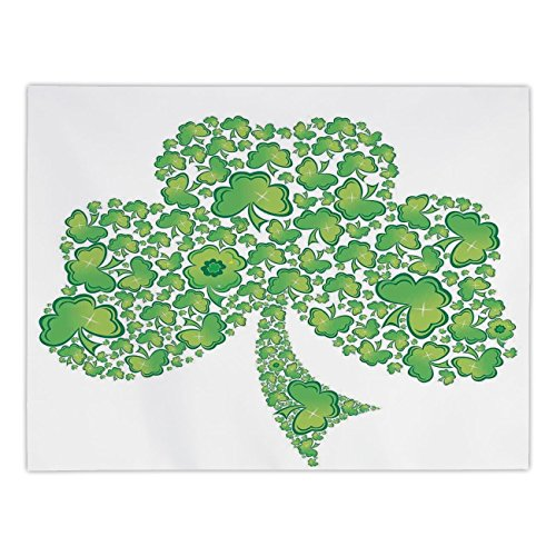 iPrint Rectangular Satin Tablecloth,Celtic,Irish Shamrock Figure Made with Small Clover Patterns Holy Trinity Symbol Graphic,Green White,Dining Room Kitchen Table Cloth Cover by iPrint