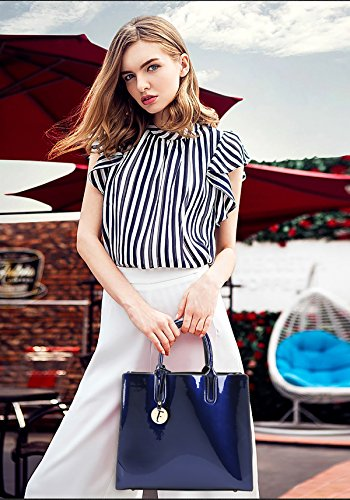 PU 2017 female leather shell Tisdaini Messenger patent shiny bag new shoulder package handbag Blue ladies handbag fashion leisure capacity large qtAxAd84w