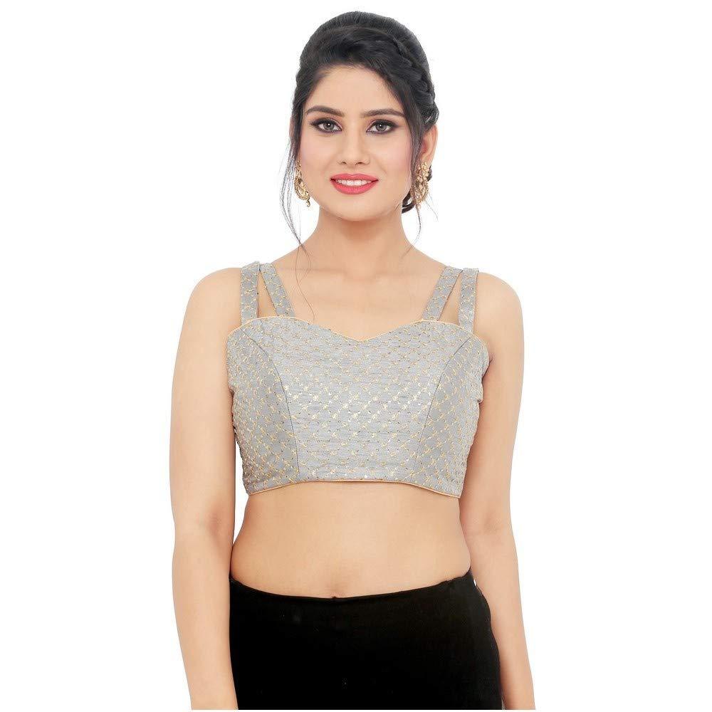 Designer Indian Traditional Grey Embroidery Padded Sleeveless Saree Blouse Choli (X782Ns)
