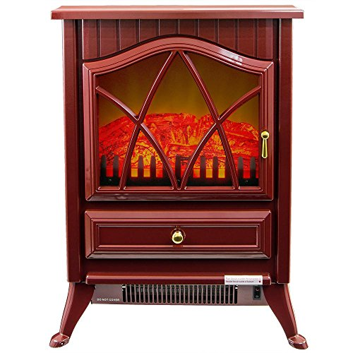 AKDY 16 in. Freestanding Electric Fireplace Stove Heater in Red with Vintage (Kerosene Propane Heaters)