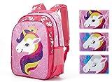 Magic Reversible Sequin School Bag, Lightweight Pre-School Backpack for for Kindergarten or Elementary, Cute Unicorn