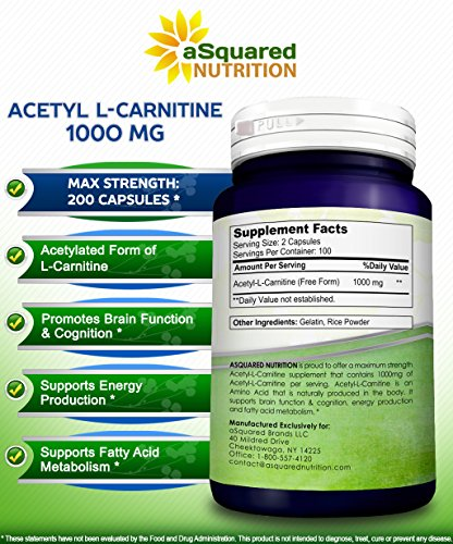 Pure Acetyl L-Carnitine 1000mg Max Strength - 200 Capsules - High Potency Acetyl L Carnitine HCL (ALCAR) Supplement Pills to Support Energy, Brain Function & Fatty Acid Metabolism by aSquared Nutrition (Image #6)