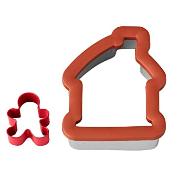 Amazon Com 2 Pc Gingerbread House And Boy Comfort Grip Cookie
