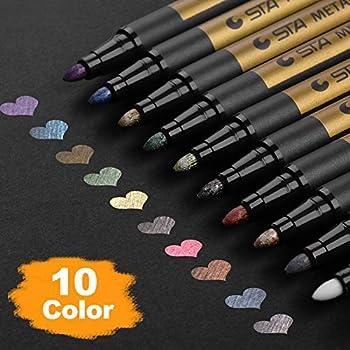 Premium Metallic Marker Pens, DealKits Set of 10 Assorted Colors Paint Pen for Scrapbooking Crafts, DIY Photo Album, Art Rock Painting, Card Making, Metal and Ceramics, Glass - Medium Bullet Tip