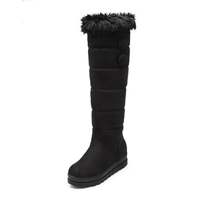AllhqFashion Damen Ziehen auf Niedriger Absatz PU Leder Rein Knie Hohe Stiefel, Schwarz, 36
