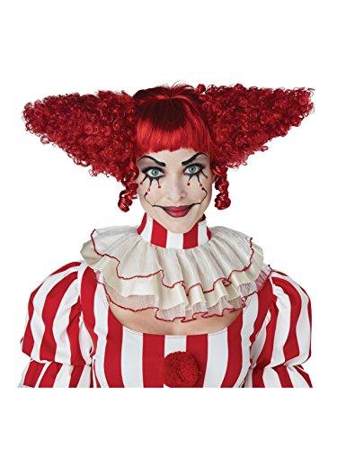 Dark Red Creepy Clown Wig -