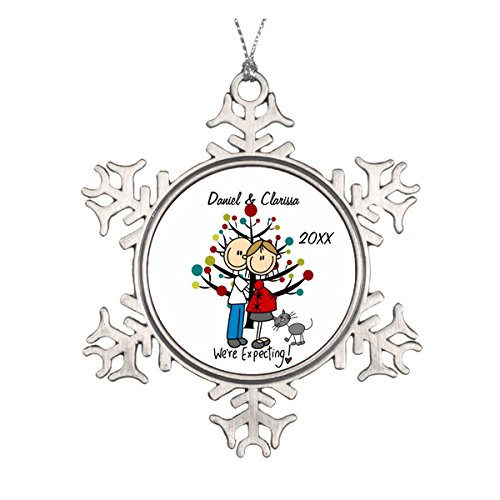 Expectant Couple, Cat Custom Holiday Ornament Old Fashioned Beaded Christmas Ornaments