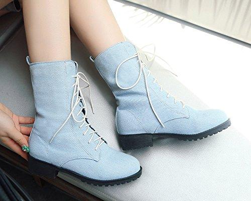 Mode Aisun Femme À Bleu Bottes Jean Clair Mollet Lacets Bwgwq5