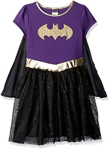 Batgirl Tutu Dress (Warner Bros. Girls' Little BAT Shield, Purple/Black,)