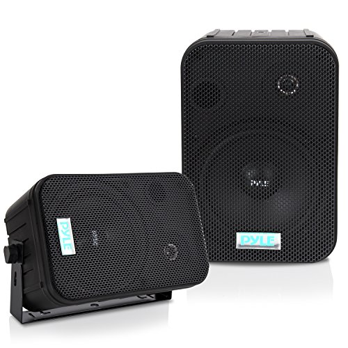 Dual Waterproof Outdoor Speaker System - 6.5 Inch Pair of Weatherproof Wall / Ceiling Mounted Speakers w/ Heavy Duty Grill, Universal Mount - For Use in the Pool, Patio, Indoor - Pyle PDWR50B (Black) ()