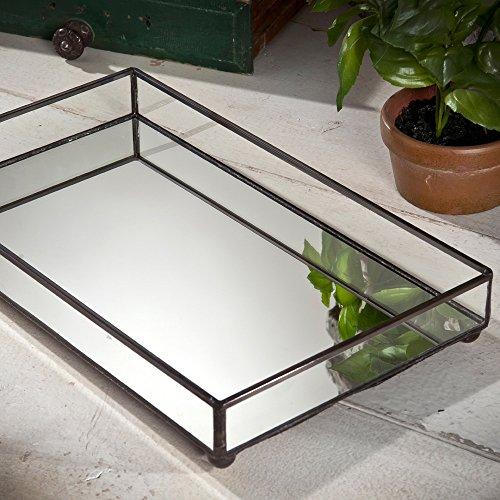 Art Glass Perfume - J Devlin TRA 108 Glass Jewelry Tray Vanity Organizer Dresser Tray with Mirror Bottom