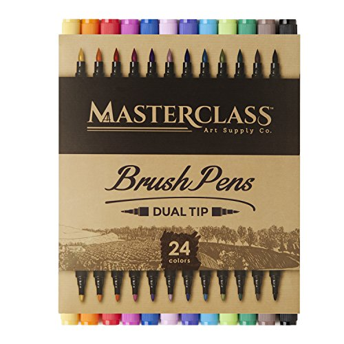 - Masterclass Premium Dual Tip Brush Markers, 24 Color, Non-Toxic Water Based Double Tip Pens