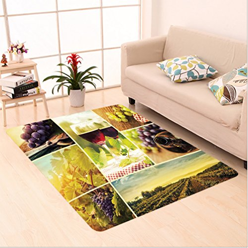 Nalahome Custom carpet Style Collage of Wine Glass Grapes and Vineyard Qualified Harvest Village Picture Art Green Red area rugs for Living Dining Room Bedroom Hallway Office Carpet (5' X (Vineyard Brown Area Rug)