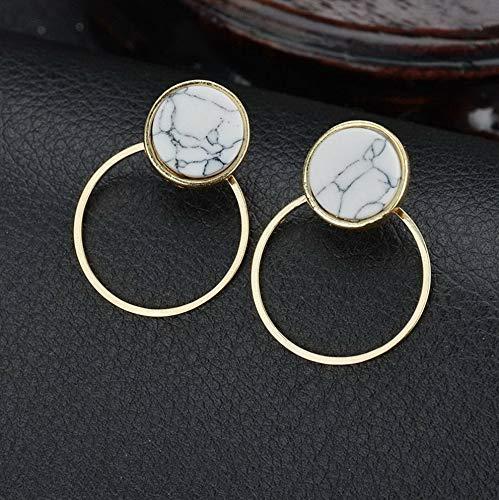 Tomikko Simple Marble Geometric Circular Triangle Square Hoop Stud Hook Earrings Jewelry | Model ERRNGS - 8555 | (Crystal Simon Clock)