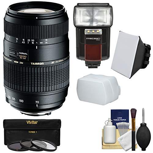 Tamron 70-300mm f/4-5.6 Di LD Macro 1:2 Zoom Lens (BIM) with 3 Filters + Flash & 2 Diffusers + Kit for Nikon D3200, D3300, D5200, D5300, D7000, D7100, D610, D800, D810, D4s DSLR Cameras