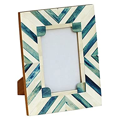 Weekend Offers - SouvNear Picture / Photo Frame - Wooden Aqua Blue White Picture Photo Frame for 4x6 Horizontal / Vertical Pictures - Home Decor - Clearance Gift Items