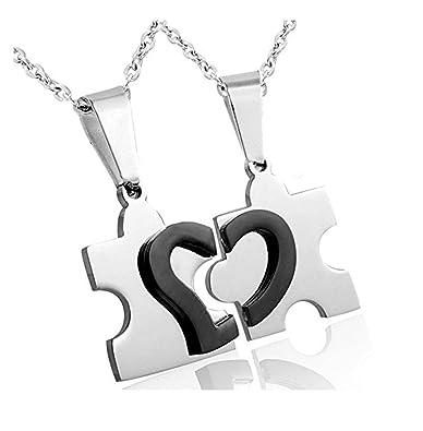 Jstyle Joyería de Acero Inoxidable del Collar Pendiente del Corazón Quebrado con Rompecabezas para Amistad y el Amor de la Mujer y del Hombre