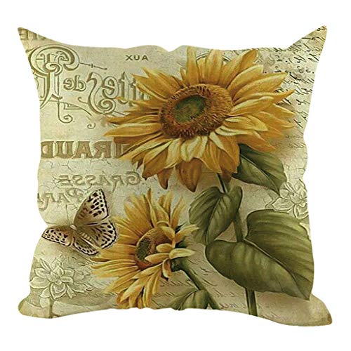 MEANIT Throw Pillow Covers,Sunflower Print Pillow Covers 18 X 18 Inch,Decorative Couch Pillow Cases Short Plush Pillow Square Cushion Cover for Sofa, Couch, Bed and Car ()