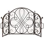Best Choice Products 3-Panel Solid Wrought Iron See-Through Metal Fireplace Safety Screen Protector Decorative Scroll Spark Guard Cover - Black by Best Choice Products