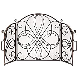 Best Choice Products 3-Panel Wrought Iron Fireplace Safety Screen Decorative Scroll Spark Guard Cover - Antique Bronze by Best Choice Products
